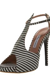 Tabitha Simmons Striped Silk Tstrap Sandal in Black - Lyst