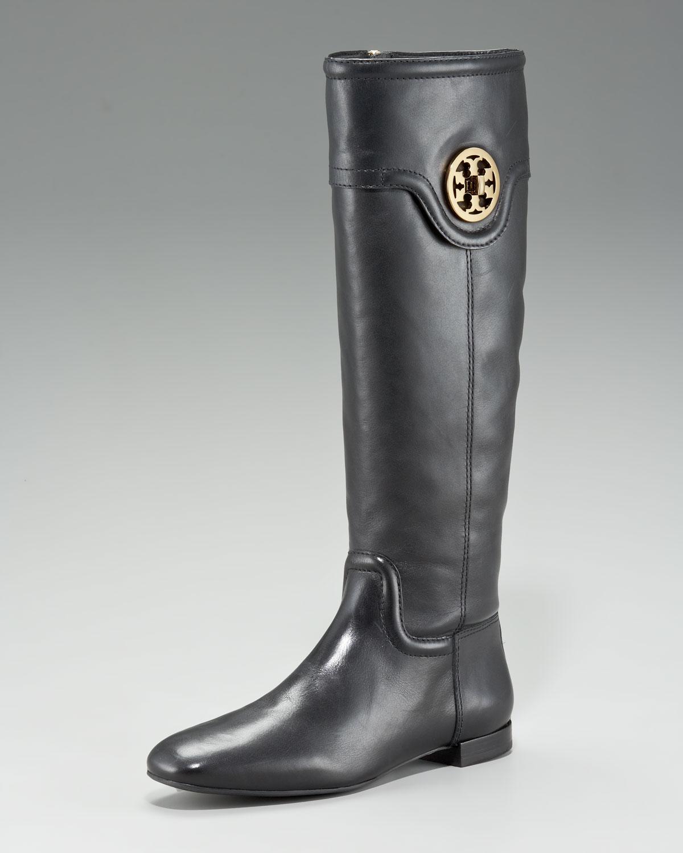 583aae53ea670a Lyst - Tory Burch Selma Logo Flat Knee Boot in Black