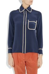 Tucker Pajamastyle Silk Shirt in Blue (navy) - Lyst