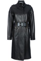 Saint Laurent Leather Coat - Lyst