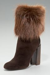Saint Laurent Aurelya Fur-cuff Ostrich-heel Ankle Boot - Lyst