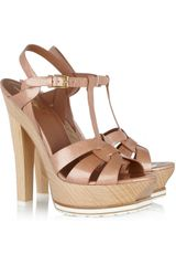 Yves Saint Laurent Tribute Patent-leather and Wood Sandals - Lyst
