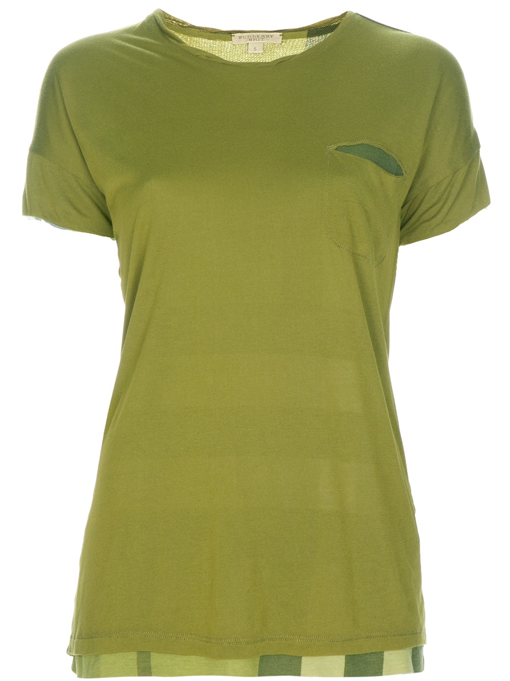 Burberry brit reversible t shirt in green lyst for Burberry brit green plaid shirt