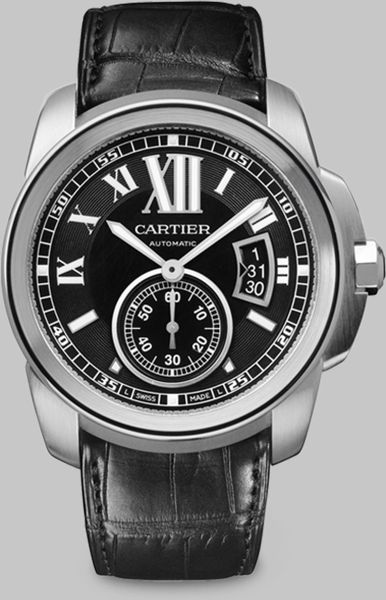 Cartier Calibre De Stainless Steel Watch On Alligator Strap in Black - Lyst
