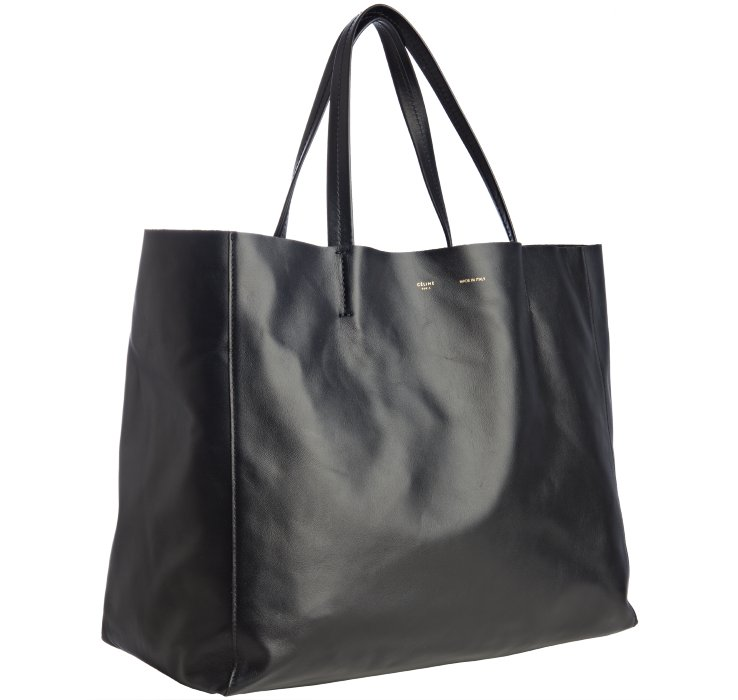 Céline Black Leather Large Tote Bag in Black | Lyst