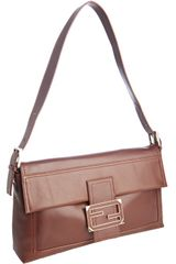 Fendi Brown Leather Baguette Threeway Convertible Clutch in Brown - Lyst