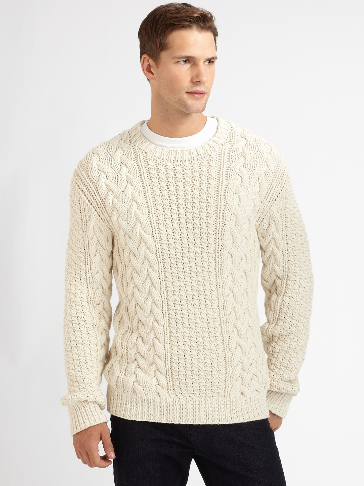 Michael Kors Cable Knit Sweater In White For Men Lyst