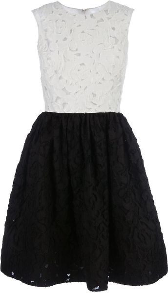 Oscar De La Renta Patchwork Dress in Black (white) - Lyst