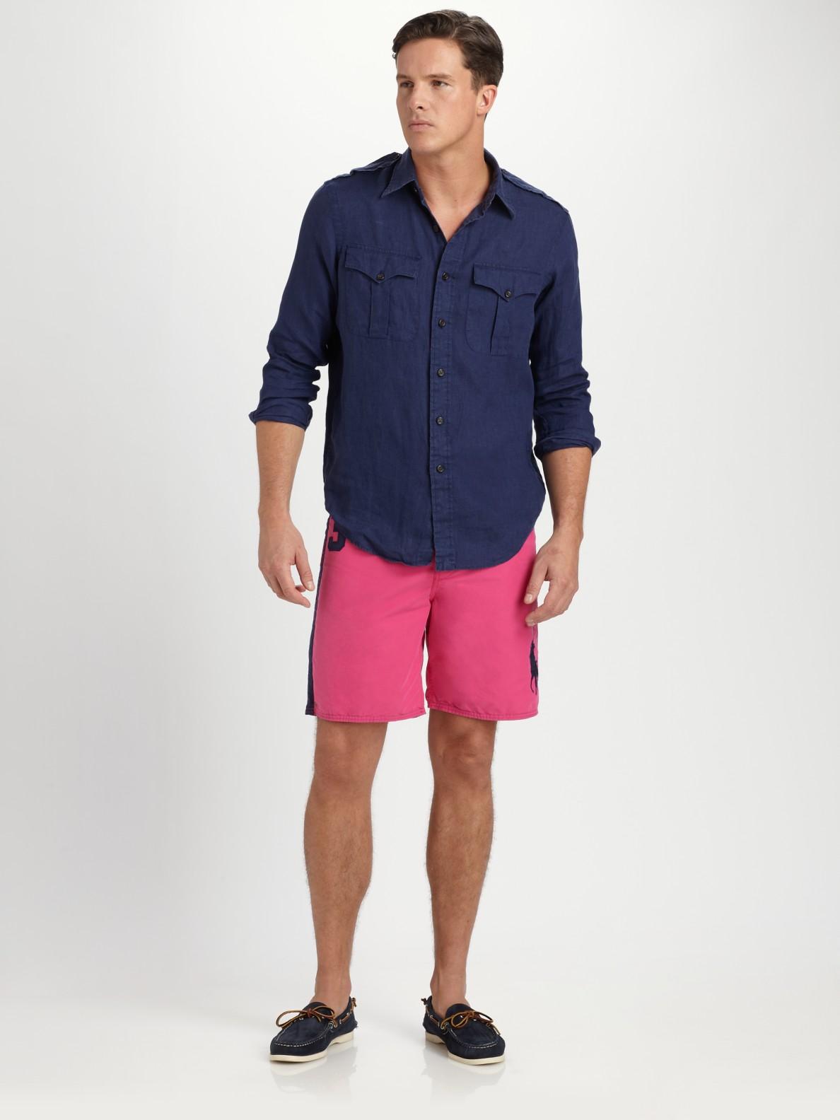 59e7fc7bd2e4 ... ireland lyst polo ralph lauren linen military shirt in blue for men  5ab2d a2222