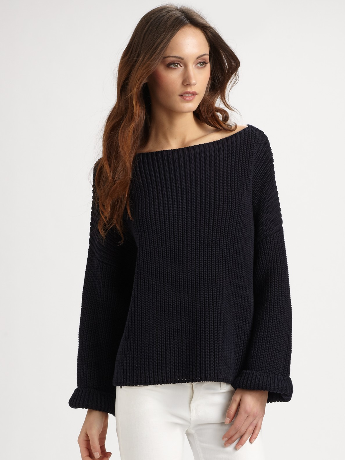 Vince Ribbed Cotton Boatneck Sweater in Blue | Lyst