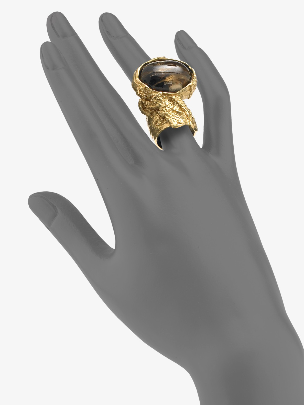 Saint Laurent Arty Ovale Ring In Gold Honey Gold Lyst