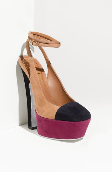 Yves Saint Laurent Colorblock Sling Pump in Brown (clay/ red/ black suede) - Lyst
