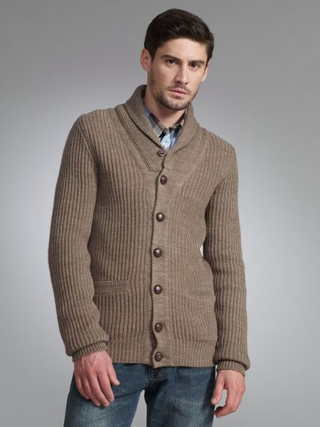 Ben Sherman Shawl Neck Cotton Cardigan Stone in Beige for Men - Lyst