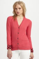 Burberry Brit Cashmere/cotton Cardigan in Pink - Lyst
