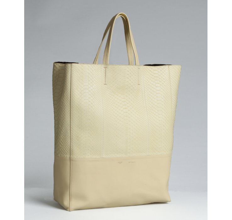C¨¦line Light Yellow Snake Embossed Leather Bi-Cabas Tote in Beige ...