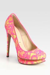 Nicholas Kirkwood Leather and Lace Platform Pumps - Lyst