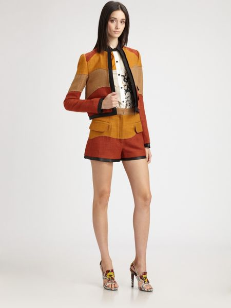 Proenza Schouler Colorblock Tweed Shorts in Orange (brown) - Lyst