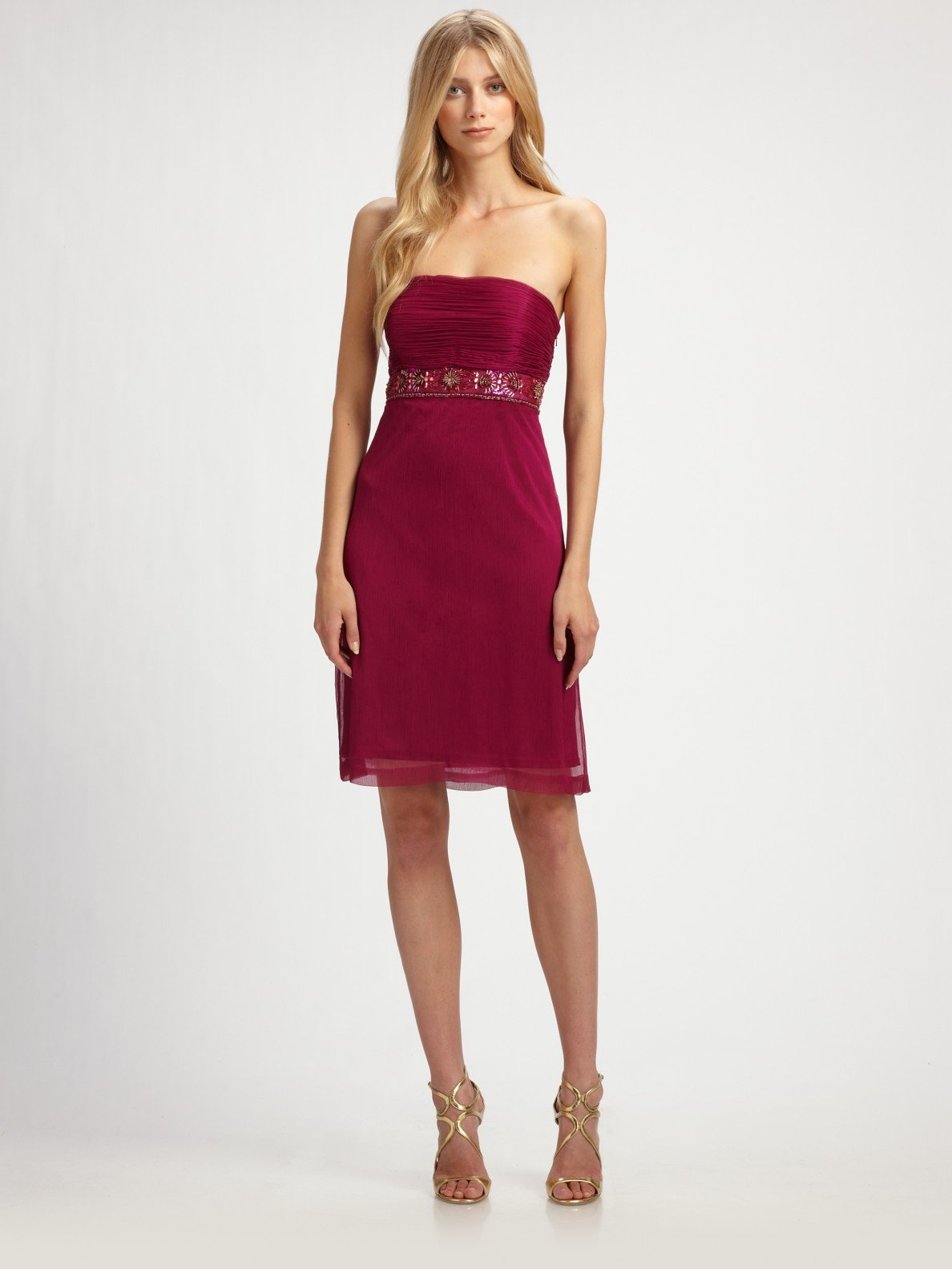 Sue wong Beaded Strapless Dress in Purple - Lyst