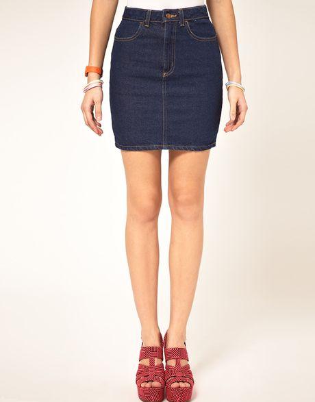 american apparel high waist denim skirt in blue denim lyst