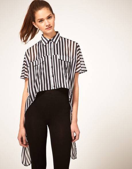 Asos Collection Asos Shirt with Dip Sides in Stripe in Black (multi) - Lyst