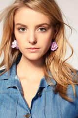 Asos Collection Limited Edition Fabric Flower Hoops in Purple - Lyst