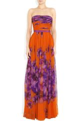 Giambattista Valli Floralprint Silkchiffon Gown in Orange (floral) - Lyst