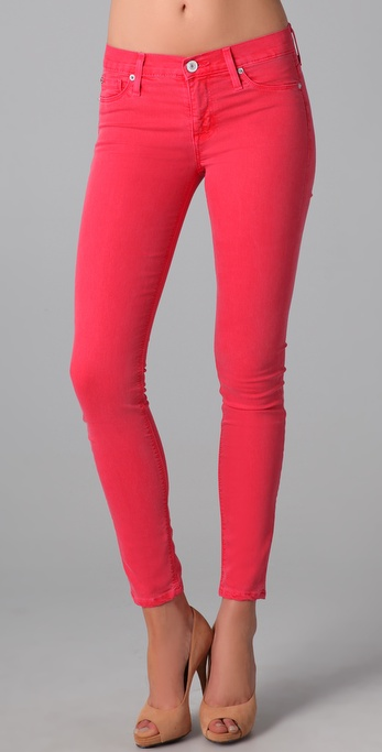 Hudson jeans Nico Mid Rise Super Skinny Jeans in Red | Lyst