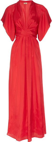 Issa Silksatin Kimono Maxi Dress in Red (poppy) - Lyst