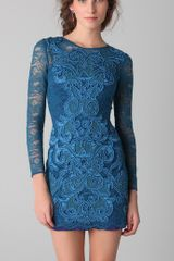 Matthew Williamson Long Sleeve Lace Dress in Blue - Lyst