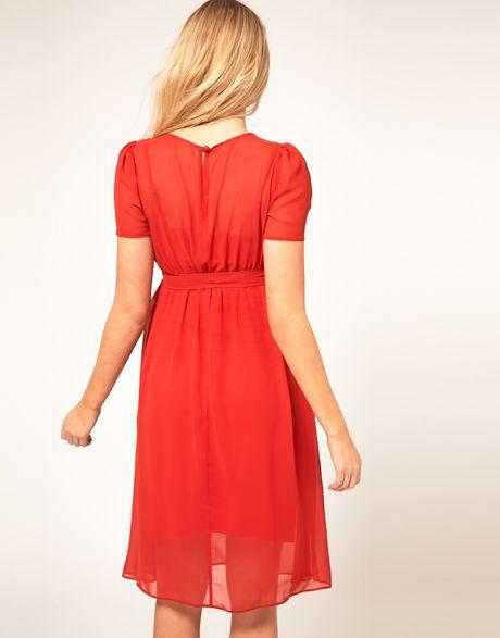 asos maternity midi dress with belt in lyst