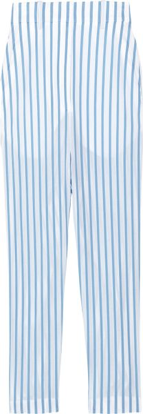 The Row Seedun Striped Cotton Cropped Pants in White - Lyst
