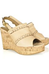 Chloé Braided Leather Wedge Sandals - Lyst