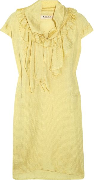Marni Ruffled Silk-blend Jacquard Dress in Yellow