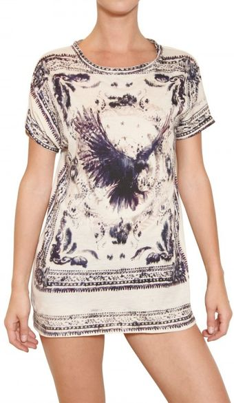 Balmain Eagle Print Cotton Jersey Dress - Lyst