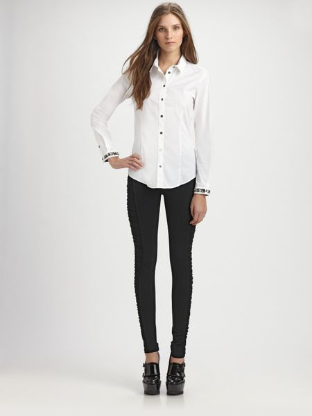 Burberry Jeweled Cotton Blouse in White - Lyst