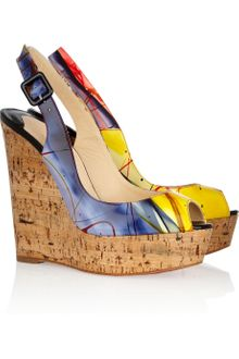 Christian Louboutin Une Plume 140 Patent-leather and Cork Wedges - Lyst