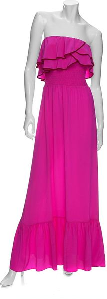 Jay Godfrey Maxi Silk Dress: in Pink (hot pink) - Lyst