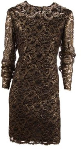 Marchesa Dress in Brown (blk/gld) - Lyst