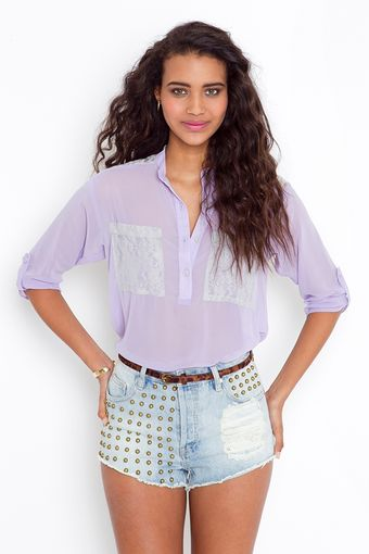 Nasty Gal Lace Pocket Blouse - Lilac - Lyst