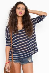 Nasty Gal Stitched Stripe Knit - Navy - Lyst