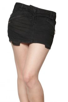 Pierre Balmain Denim Stretch Mini Biker Skirt - Lyst