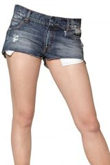 Pierre Balmain Denim Stretch Mini Shorts - Lyst