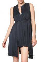Pierre Balmain Asymmetric Pleated Cupro Dress - Lyst
