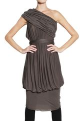 Rick Owens Gathered Viscose Jersey Dress - Lyst