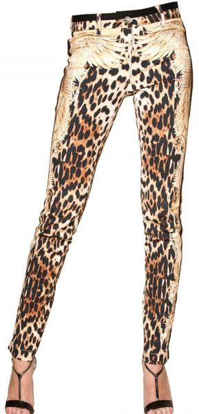 Roberto Cavalli Leopard Print Stretch Drill Jeans in Animal (leopard) - Lyst