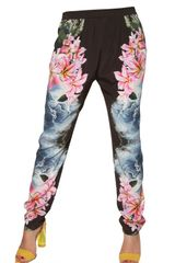 Stella McCartney Hibiscus Print Silk Crepe Trousers - Lyst