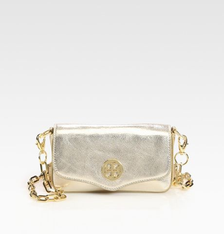 Tory Burch Foldover Metallic Leather Mini Bag in Black (black-pewter) - Lyst