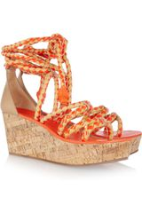 Tory Burch Braided Leather and Cork Wedge Sandals - Lyst
