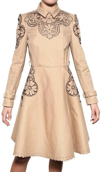 Valentino Embroidered Light Weight Trench Coat in Beige - Lyst