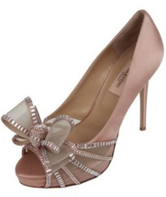 Valentino Bow Toe Satin Glam Pumps - Lyst